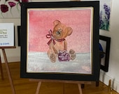 Teddy Bear  Miniature Painting, framed original art By Hazel Rayfield