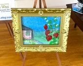 Dollhouse strawberry Cottage landscape  - miniature original art