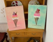 Ice cream Parlour Paintings 1:12th scale Paintings Set 0f 2 Dollhouse miniature original art painting