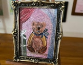 Miniature Teddy bear DollHouse painting 1:12th Scale Dolls House, miniature original art