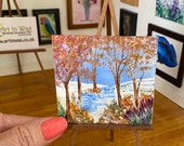 Dolls house Landscape Autumn River Original Miniature Art