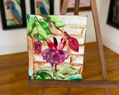 Fuchsia Dollhouse miniature Painting Original Art