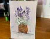 Dolls house cyclamen plant pot miniature painting. 1:12th scale  Original art