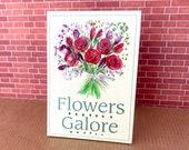 Billboard advertising sign Miniature Dolls House Flowers Florist  Sign OOAK Original  Art