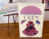 Dollhouse Dress Shop, Open Sign Vintage Style, Painting, 1:12th scale miniature  art
