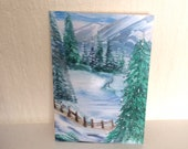 Winter Landscape Painting Small format art 5 x 3 1/2 inches