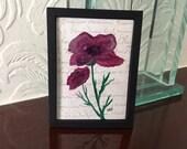 Poppy Miniature painting  original one of a kind art by Hazel Rayfield