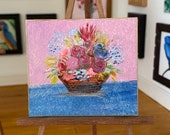 Miniature Flower Basket, Dollhouse OOAK painting