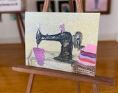 Miniature vintage sewing machine Dolls House Painting original Art