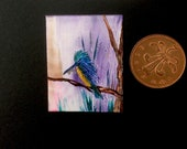 Kingfisher Dollhouse Painting Original Miniature Art shown on display here in my own 1:12 Art Gallery