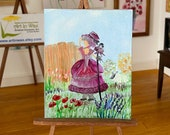 Little Bo Peep miniature dollhouse painting
