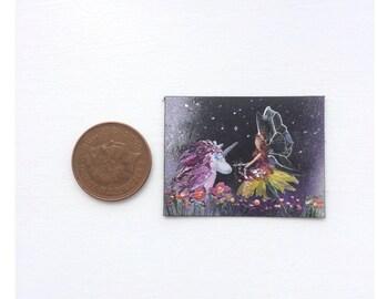 Unicorn Fairy Garden Original miniature art Dolls House Painting Dollhouse