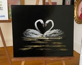 Dolls house swan painting. Miniature love kissing heart  swan art