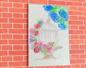 Shabby Chic birdcage and Roses modern miniature dollhouse painting
