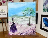 Dollhouse Miniature classic lady in a  landscape Painting Art In Wax