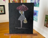 Miniature Painting Dollhouse Miniature girl with the red umbrella Contemporary Art   Dolls House Painting