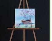 Miniature Boat River Landscape Painting Dollhouse Art 1:12th