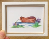 Miniature Boat landscape Painting Dollhouse Collectible Art
