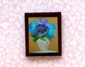 1:24 Scale framed hydrangea original art dolls house painting