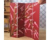 Pink blossom Dollhouse original art miniature screen room divider
