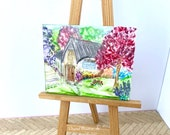 Dolls House Original Art  Home Cottage Landscape Painting Dollhouse furniture