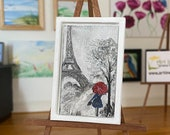 Paris Miniature Painting Modern Art Dollhouse framed