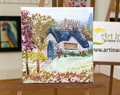 Dolls House miniature painting, autumn cottage landscape