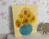 Modern Miniature Sunflower Painting canvas style original miniature art