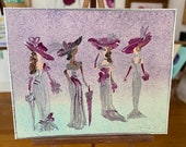 Ascot Race Day Dollhouse Miniature Painting Art In Wax pretty in pink