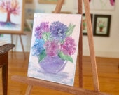 Hydrangea Flower Vase | 1 12th Scale Original Painting Dolls House Picture