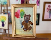Dollhouse teddy bear painting original art miniature framed picture