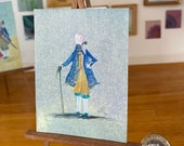 Dollhouse painting Earl  Period style portrait original art 1:12th scale.