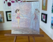 Dollhouse miniature ballerina ballet practice painting Miniature  DollHouse Picture Original Art In Wax