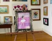 DollHouse  Ballerina Original Art Miniature Painting By Hazel Rayfield