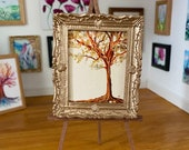 golden tree Painting Dolls house Collectible Miniature Art framed