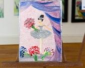 Ballet miniature painting, Dolls House Ballerina with her bouquet Original Art Painting