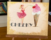Pin up girl painting. Miniature dollhouse vintage style painting