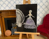 Dollhouse painting Miss Cindi on her way to the ball in her Cinderella carriage