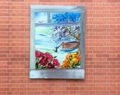 Window Painting 1:12th garden, lake boat Landscape Dollhouse art