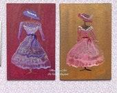 Dollhouse Mannequin dresses Set of 2 paintings Dolls House Miniature paintings
