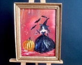 Miniature The Glamorous Witch   painting Dolls House Painting Dollhouse Art