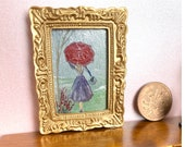 Miniature Dolls House  Painting, Lady with the red umbrella framed Picture