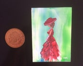 Miniature Dolls House Painting lady In Red wall art picture