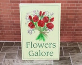 Miniature Dolls House Flowers Galore Florist Advertising Billboard Sign OOAK Original Miniature Art