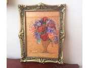 Miniature  Painting  Dolls House Original Art Collectible period style flower vase Framed Painting by Artist Hazel Rayfield