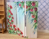 Miniature Furniture   Roses shabby Chic   Dolls House Screen Original art as a unique piece of Dollhouse Furniture