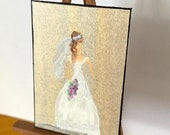 Spring  Bride Miniature Dolls House Painting wedding picture