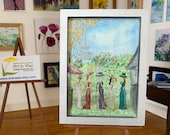 Paris Garden Party Miniature Art Framed original art Painting