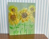 Modern Miniature Sunflower Summer Garden Painting canvas style original miniature art