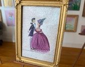 Dollhouse miniature vintage portrait painting lady and gentleman